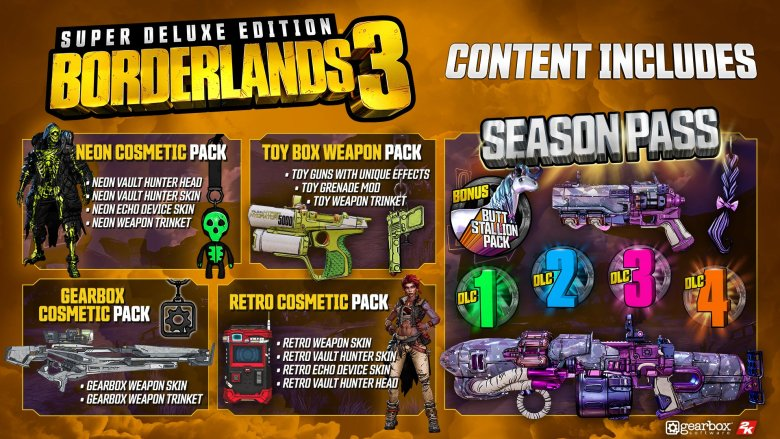 Borderlands 3 Super Deluxe Content containing Season Pass Rewards
