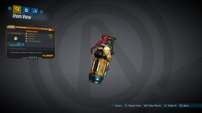 Borderlands 3 Legendary Vladof Grenade Mod - Widowmaker