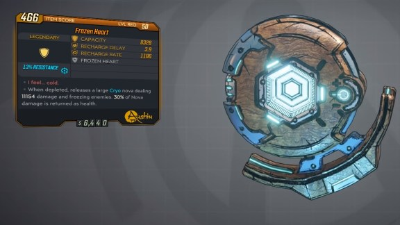 Borderlands 3 Legendary Anshin Shield - Frozen Heart