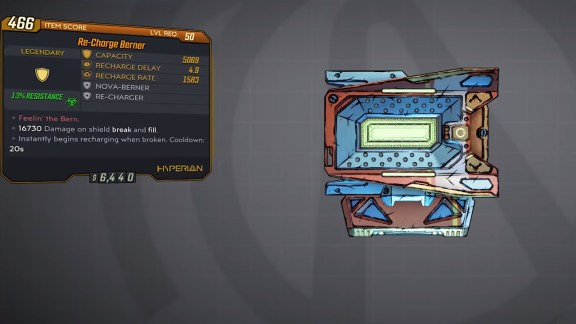 Borderlands 3 Legendary Hyperion Shield - Re-Charge Berner