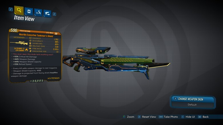 Borderlands 3 Legendary Hyperion Sniper Rifle - Tankman's Shield