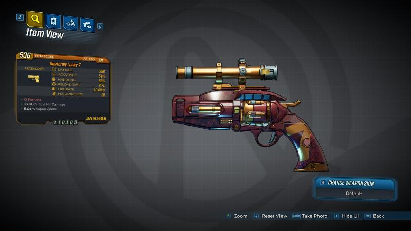 Borderlands 3 Legendary Jakobs Pistol - Lucky 7