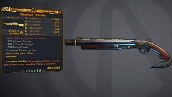 Borderlands 3 Legendary Jakobs Shotgun - Speedloadin' Hellwalker