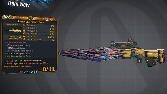 Borderlands 3 Legendary Dahl Sniper Rifle - Malak's Bane