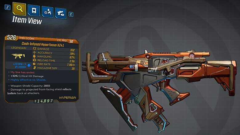 Borderlands 3 Legendary Hyperion SMG - Hyperfocus XZ41