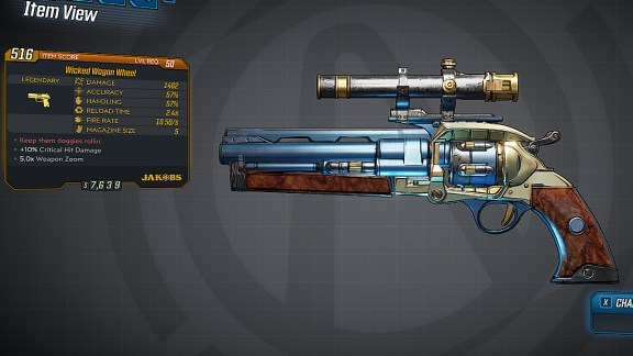Borderlands 3 Legendary Jakobs Pistol - Wagon Wheel