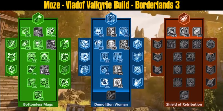 Moze - Vladof Valkyrie Build Skill Tree - Borderlands 3