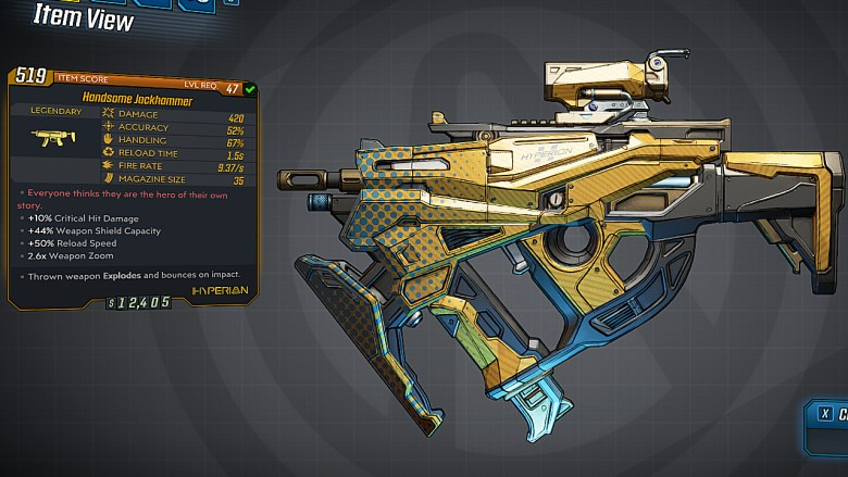 Borderlands 3 Legendary Hyperion SMG - Handsome Jackhammer