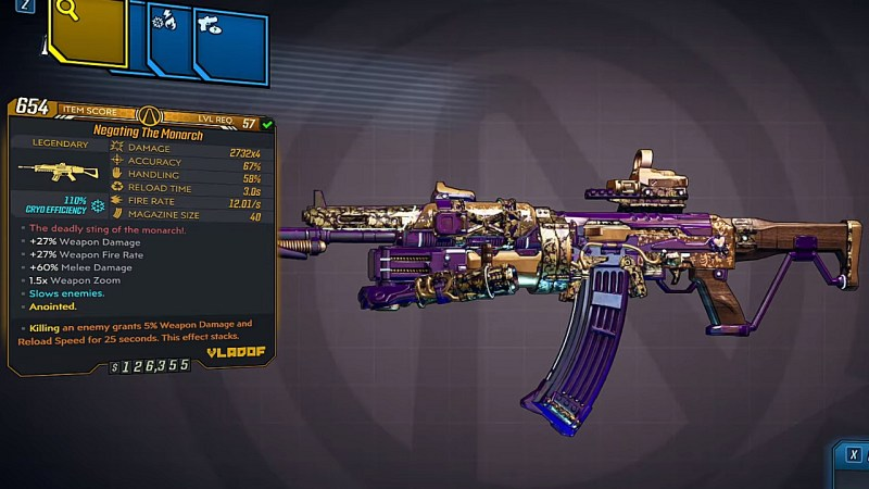 Borderlands 3 Legendary Vladof Assault Rifle - The Monarch