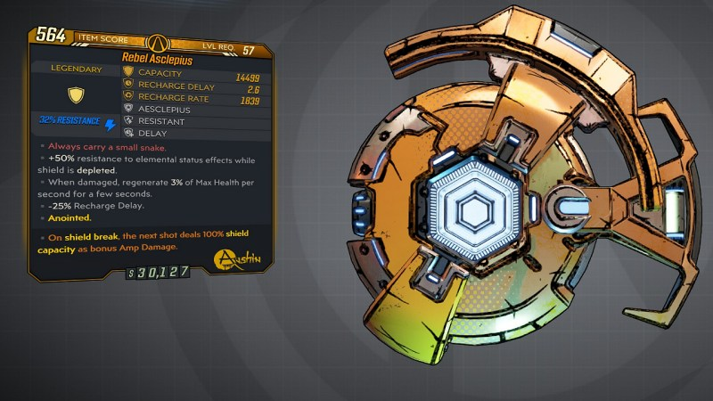 Borderlands 3 Legendary Anshin Shield - Aesclepius