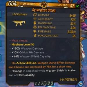 Borderlands 3 Legendary Hyperion SMG - Smog Item Card