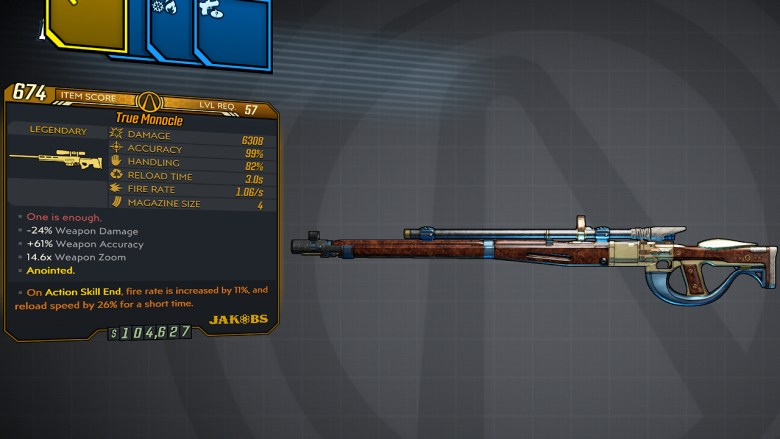 Borderlands 3 Legendary Jakobs Sniper Rifle - Monocle