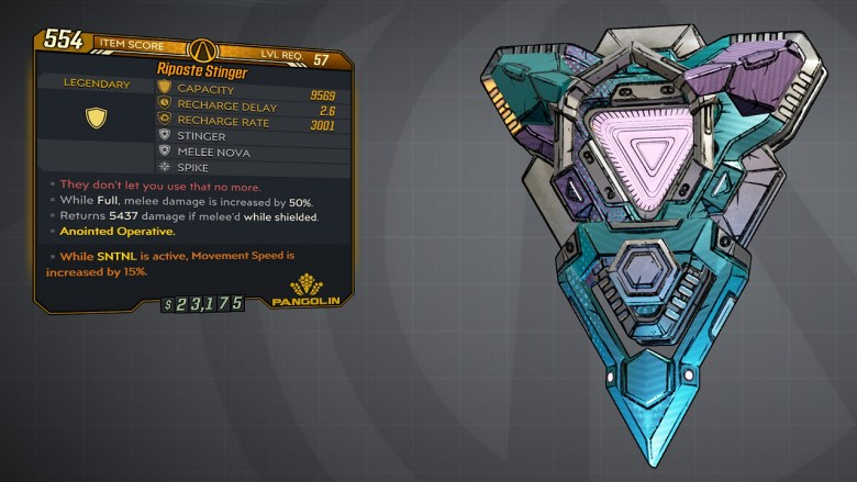 Borderlands 3 Legendary Pangolin Shield - Stinger