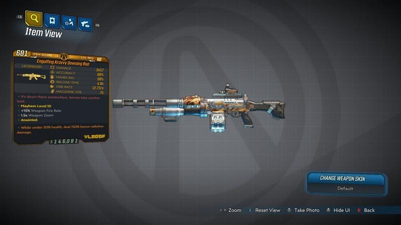 Borderlands 3 Legendary Vladof Assault Rifle - Dowsing Rod