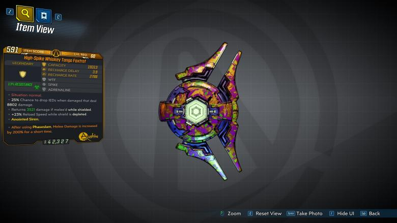 Borderlands 3 Legendary Anshin Shield - Whiskey Tango Foxtrot