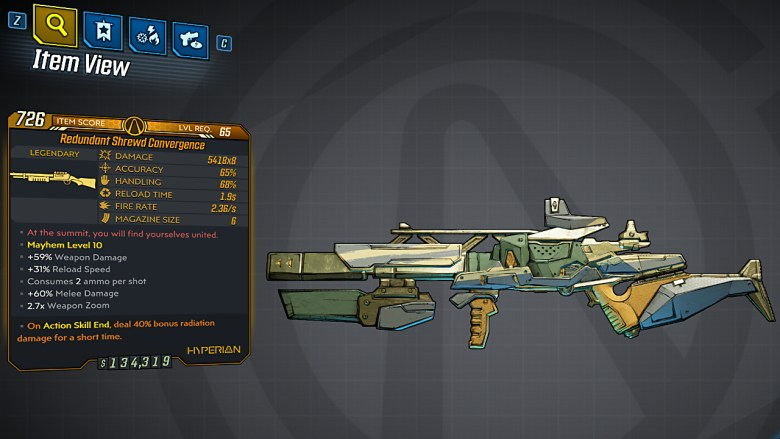Borderlands 3 Legendary Hyperion Shotgun - Convergence