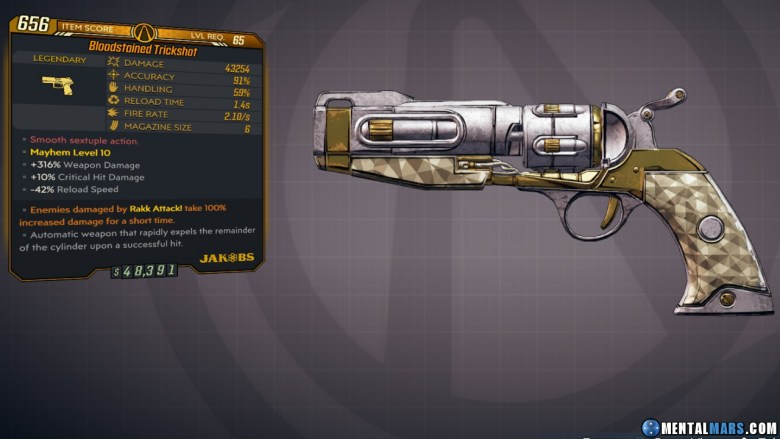 Borderlands 3 Legendary Jakobs Pistol - Trickshot