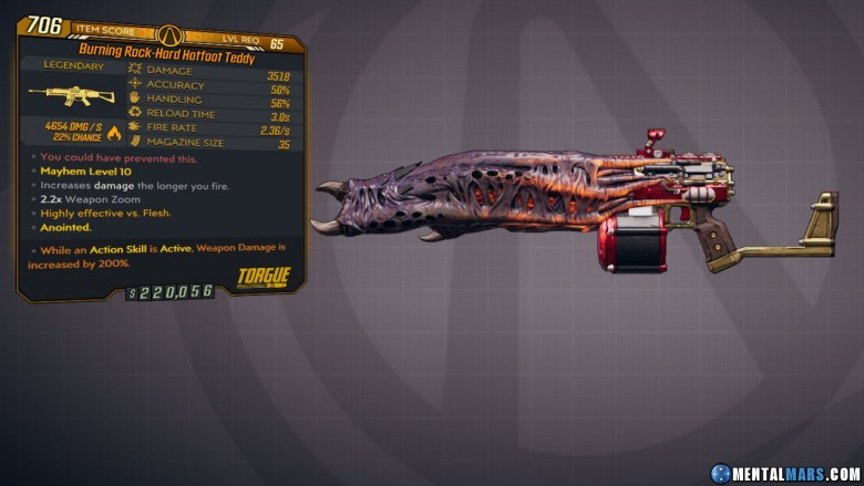 Borderlands 3 Legendary Torgue Assault Rifle - Hotfoot Teddy