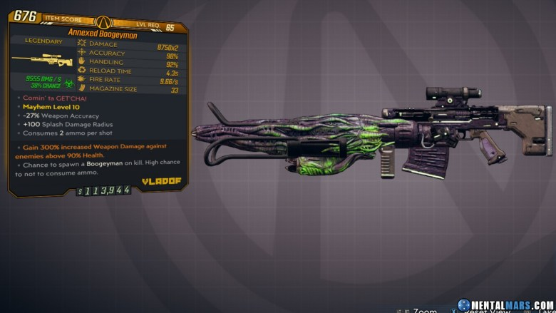 Borderlands 3 Legendary Vladof Sniper Rifle - Boogeyman