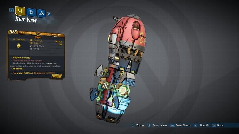 Borderlands 3 Legendary Torgue Grenade Mod - Ringer