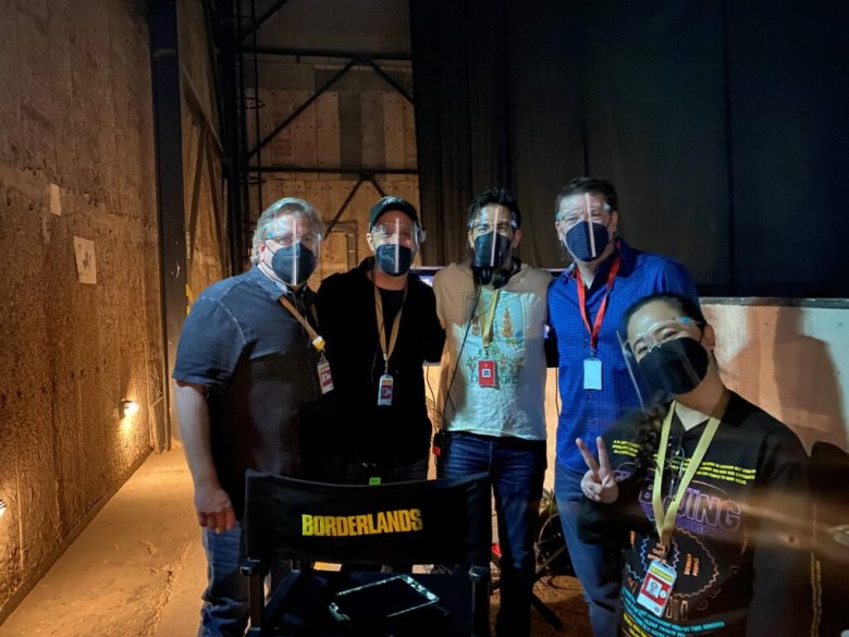 Behind-the-scenes in Sound Stage 2 on Day 1 of principal photography for the Borderlands motion picture. L2R: Ethan Smith (Executive Producer), Ari Arad (Producer), Eli Roth (Director), Randy Pitchford (Me), Emmy Yu (Producer).