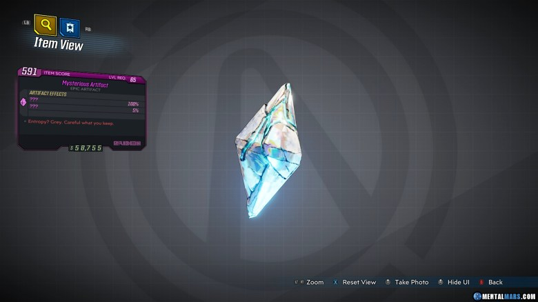 Mysterious Artifact - Borderlands 3 Rare Item