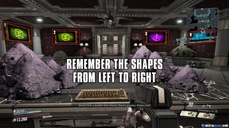 Revenge of the Cartels Puzzle - Remember Shapes - Borderlands 3