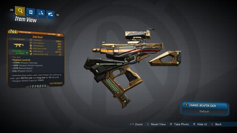 Borderlands 3 Legendary Hyperion SMG - Gold Rush