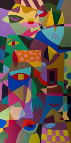 Fourheads ©John Jennings 2015 Acrylic on canvas. 100 X 50cms