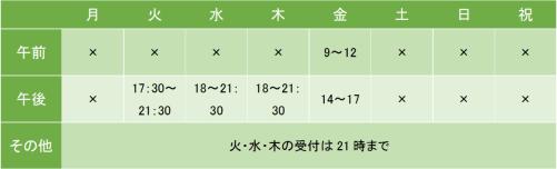 渋谷コアクリニックの診療時間
