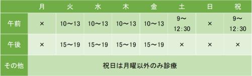 渋谷もりやクリニックの診療時間