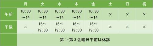 田町メンタルクリニックの診療時間