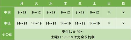 青山会関内クリニックの診療時間