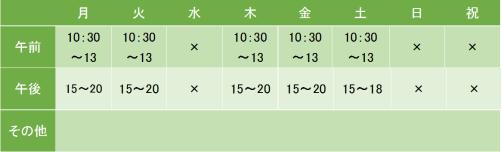 田中クリニックの診療時間