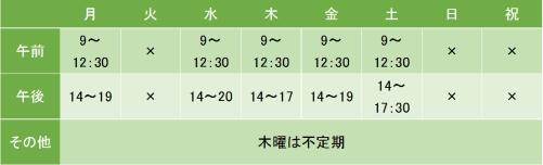 高田馬場診療所の診療時間
