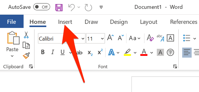 """Access the """"Insert"""" tab in Word."""