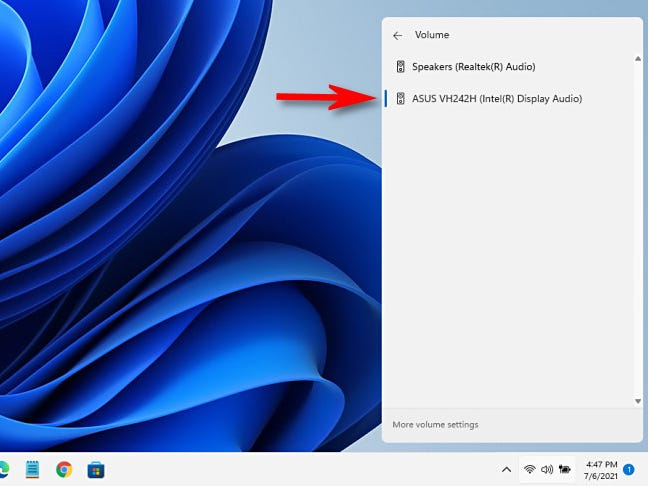 The Windows 11 manage audio devices list in the Quick Setup menu.