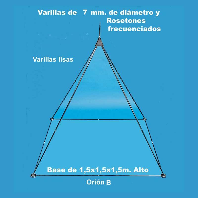 """Orión B: 33.000 u/b. (Med.Radiestésica). 1 Acupresor """"Loqi"""". Acero Inoxidable (Paramagnético). Piramidón deslizante, con brillo y cortado a láser. Arista compuesta de 3 varillas de 60cm x 7mm Ø. Base cuadrada de acero con varillas de 7 mm Ø y 4 rosetones frecuenciados. Dimensiones: 150 X 150 X 150 cm. Peso: 5.000 gr."""