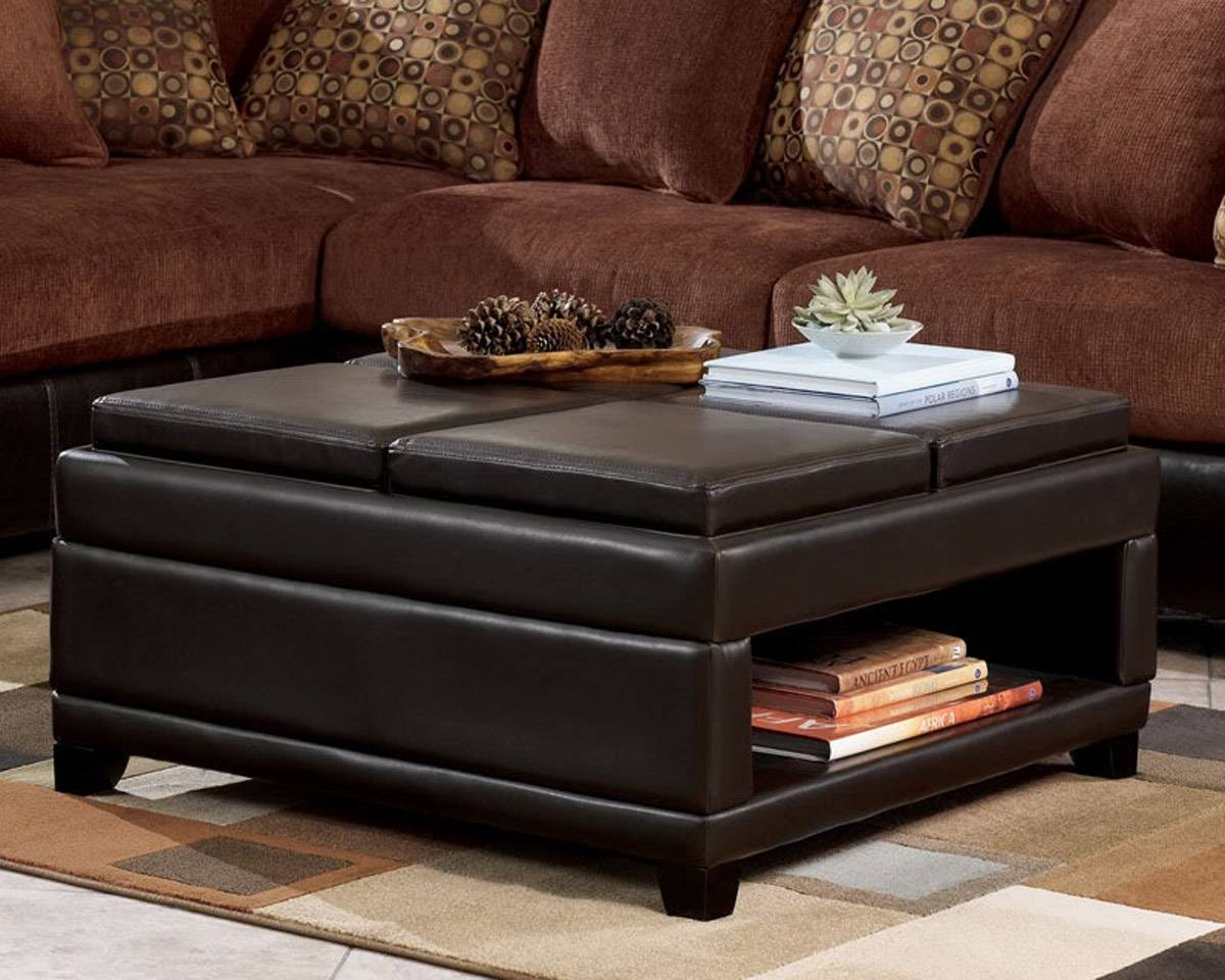 Leather Brown Table Ottoman Coffee