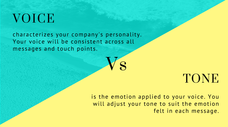 voice and tone explained: Voive characterizes your companies character vs Tone is the emotion applied to your voice