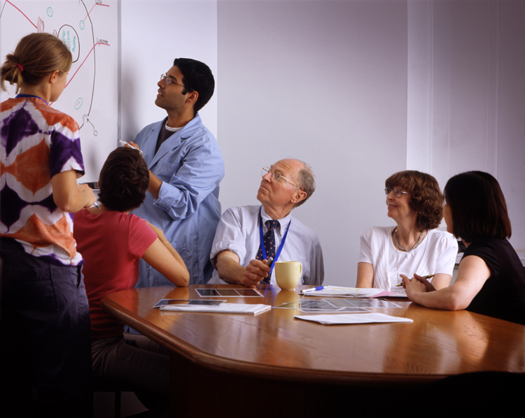 a group of people watching a presentation