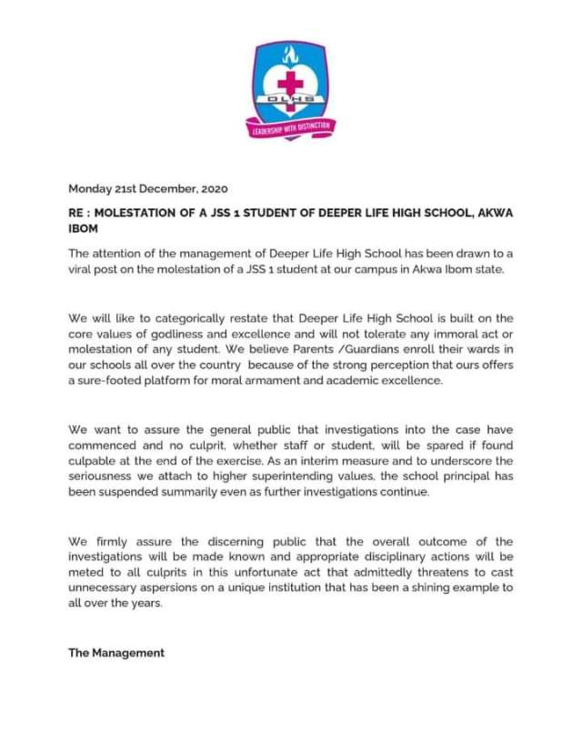 Deeper Life High School, Uyo, Akwa Ibom has issued a statement over the alleged molestation