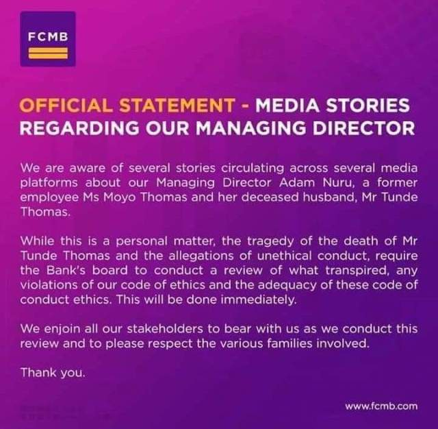 FCMB Releases Official Statement