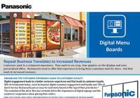 Digital Menu Boards Panasonic