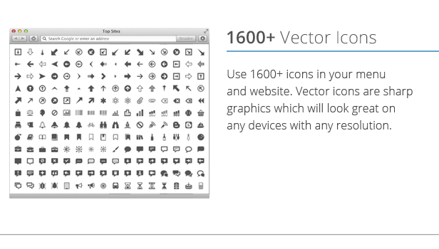 Mega Menu 1600+ Icons Pack