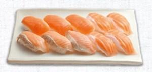 はま寿司の持ち帰り、サーモン三昧(10貫)