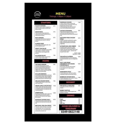 Urban Kitchen Lahore Menu with Prices