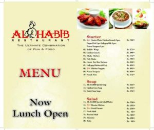Al Habib Do Darya Karachi BBQ Menu Prices