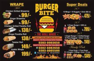 Burger bites Faisalabad Menu