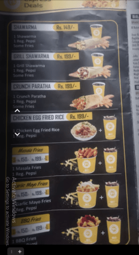 Fri Chicks Mianwali Menu Prices 1